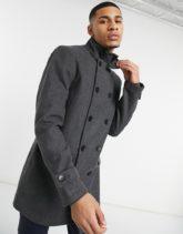 French Connection - Zweireihige Jacke mit Stehkragen-Grau
