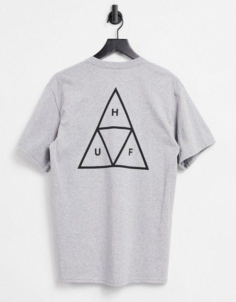 HUF - Essentials - Graues T-Shirt mit dreigeteiltem Dreieck-Logo