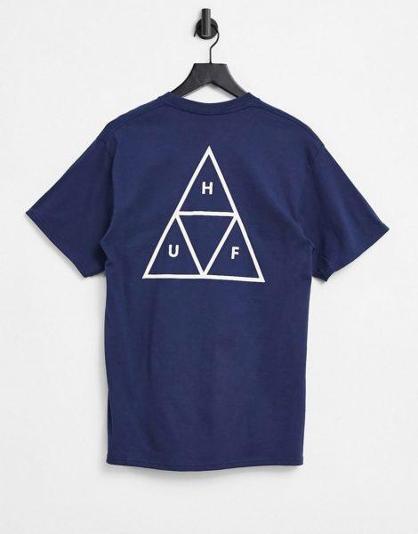 HUF - Essentials - T-Shirt in Marineblau mit dreigeteiltem Dreieck-Logo