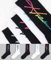 Hollister - 4er-Pack Socken in Weiß/Schwarz mit Logo