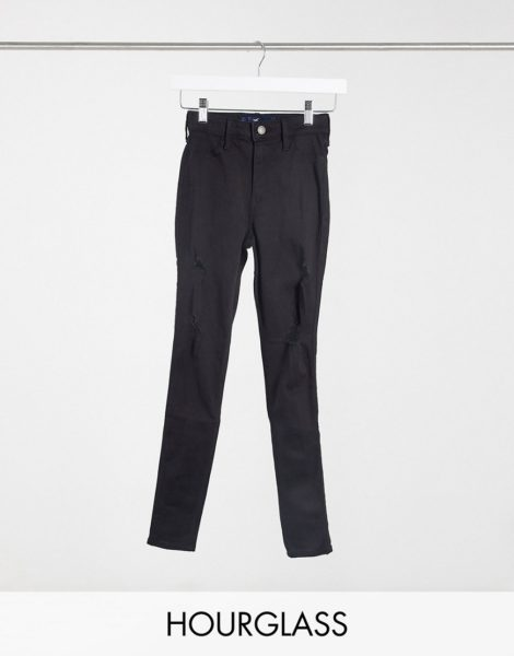 Hollister - Hourglass - Skinny Jeans mit Zierrissen in Schwarz