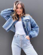 Hollister - Jeansjacke in Blau in Patchwork-Optik