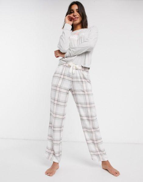 Hollister - Karierter Pyjama mit Oberteil und Hose-Rosa
