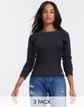 Hollister - Langärmlige Shirts im 3er-Pack in verschiedenen Farben-Mehrfarbig