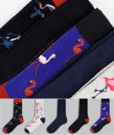 Jack & Jones - 5er-Pack Socken in unterschiedlichen Farben mit Flamingoprint-Mehrfarbig