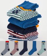 Jack & Jones - 5er-Pack Socken mit Streifen und Logo in mehreren Farben-Mehrfarbig