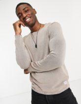 Jack & Jones - Essentials - Pullover in verwaschenem Beige mit aufgerolltem Saum-Grau
