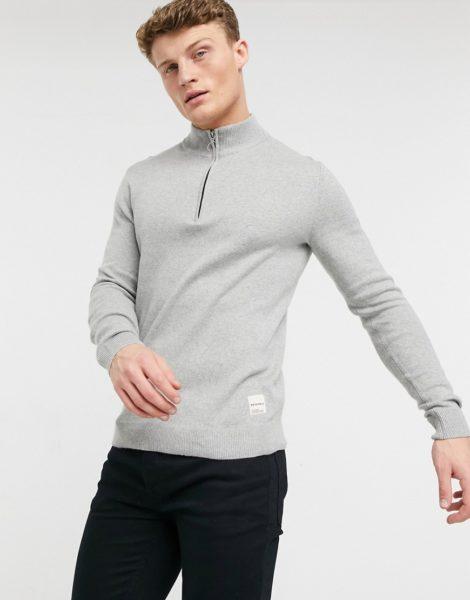 Jack & Jones - Originals - Grauer Pullover mit kurzem Reißverschluss
