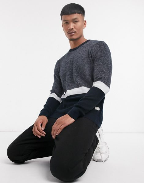 Jack & Jones - Originals - Marineblauer Pullover mit weißen Streifen
