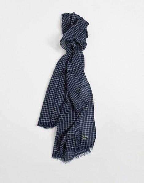 Lacoste - Schal aus Baumwoll-Leinen-Mischung mit kleinem Karomuster in Marineblau und Weiß