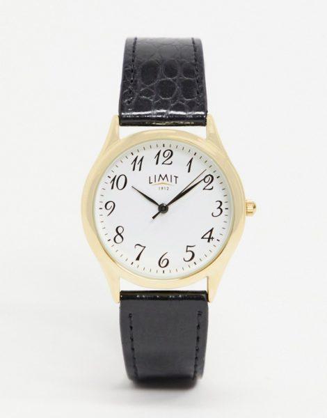 Limit - Uhr mit schwarzem Kunstleder-Armband und goldenem Gehäuse