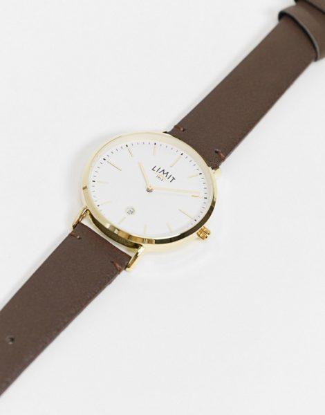 Limit - Unisex-Uhr aus braunem Kunstleder mit weißem Zifferblatt