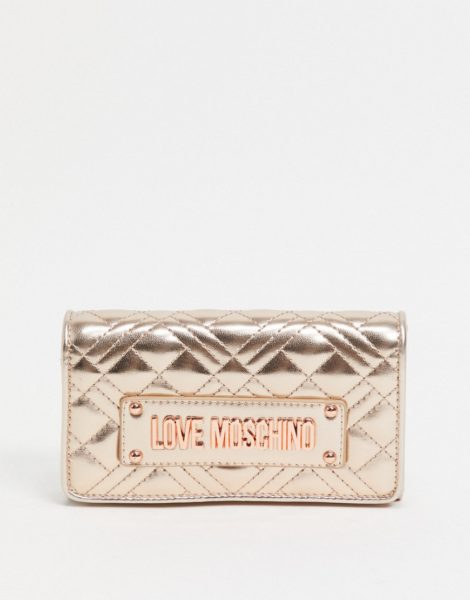 Love Moschino - Gesteppte Geldbörse in Kupfer mit Logo