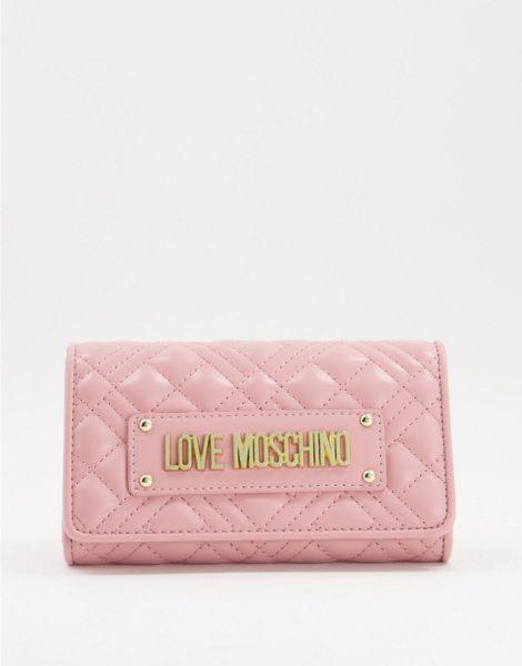 Love Moschino - Gesteppte Geldbörse mit Logo in Rosa