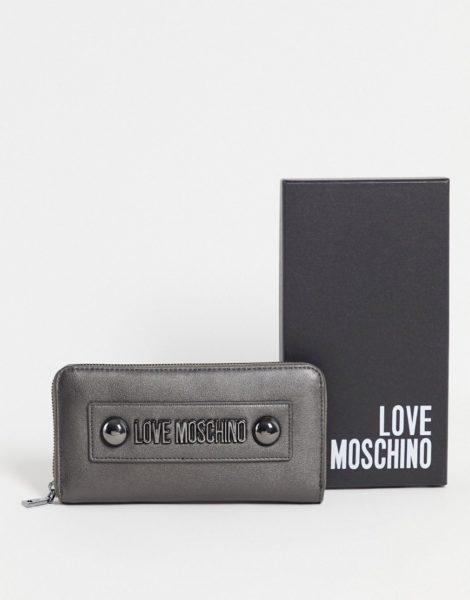 Love Moschino - Große Geldbörse mit abgerundeten Nieten in metallischem Blaugrau-Silber