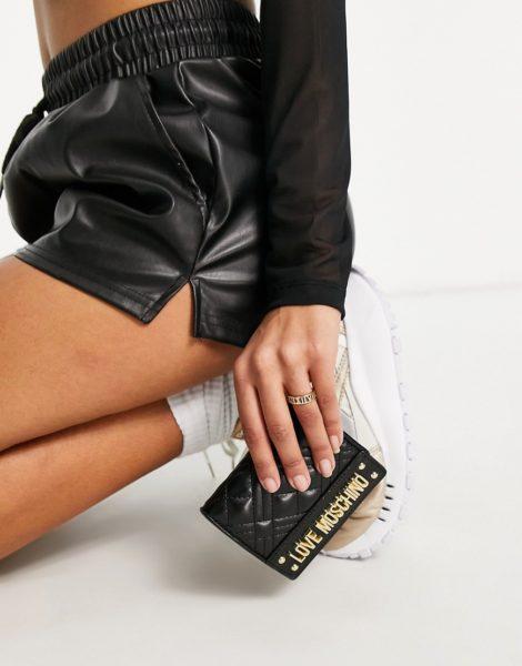 Love Moschino - Lange gesteppte Geldbörse in Schwarz