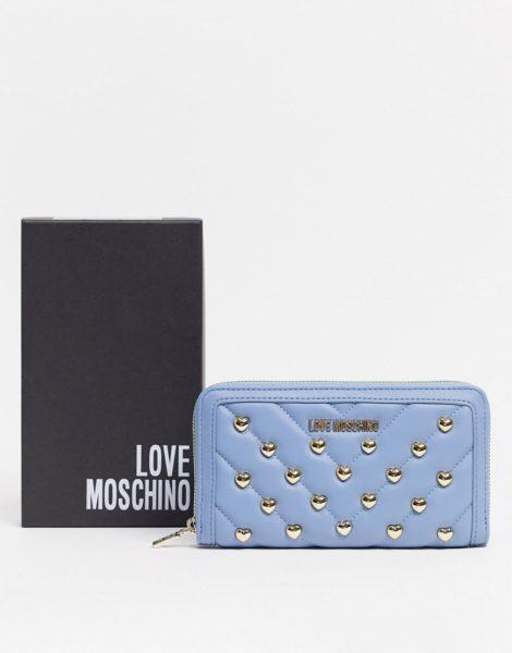 Love Moschino - Mit Nieten besetzte Geldbörse in Blau