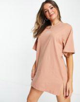 Monki - Tori - Kurzes T-Shirt-Kleid aus Bio-Baumwolle in Rosa mit aufgestickter Sonne