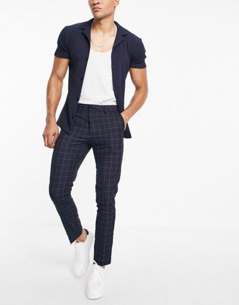 New Look - Enge elegante Hose in Marineblau kariert