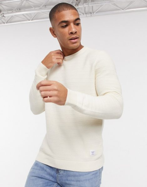 Only & Sons - Gerippter Pullover in Weiß