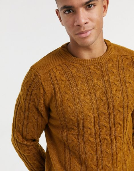 Only & Sons - Pullover mit Zopfmuster in Hellbraun
