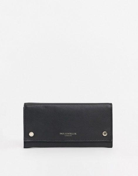 Paul Costelloe - Geldbörse aus Leder mit Druckknopfdetail in Schwarz