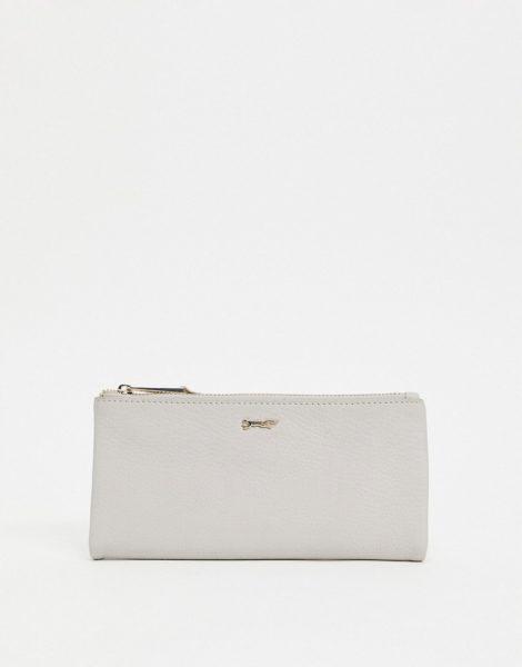 Paul Costelloe - Geldbörse aus Leder mit Reißverschluss auf der Oberseite in gebrochenem Weiß