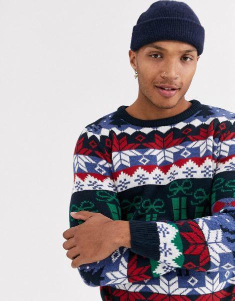 Pull&Bear - Join Life - Schwarzer Weihnachtspullover