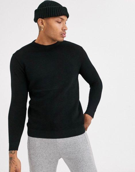 Pull&Bear - Schwarzer Pullover mit Rundhalsausschnitt
