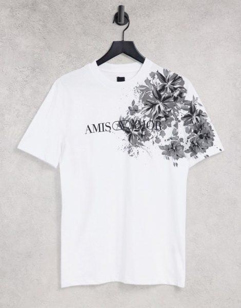 River Island - T-Shirt in Weiß mit Blumenmuster