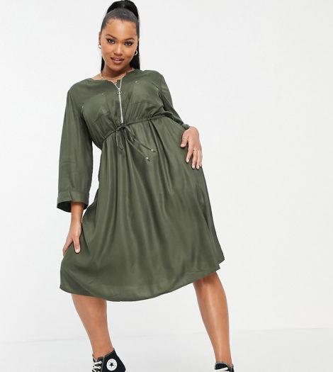 Simply Be - Utility-Kleid in Khaki mit Reißverschluss-Grün