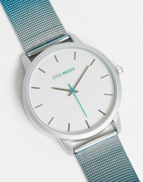 Steve Madden - Uhr mit Netzarmband in Silberoptik