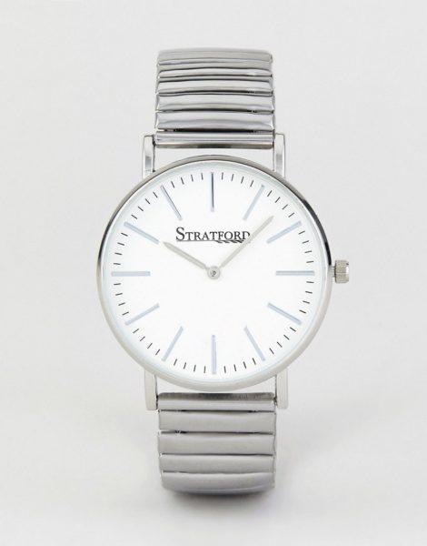 Stratford - Uhr mit weißem Zifferblatt und silberfarbenem Uhrband