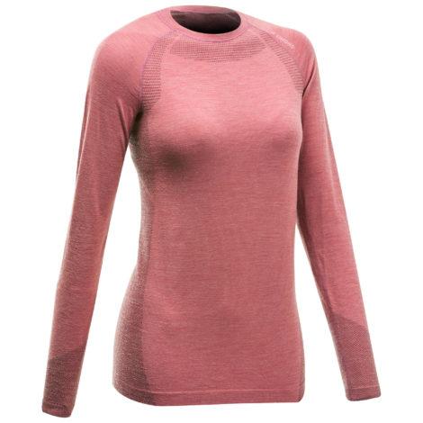 T-Shirt langarm Seamless Wolle Bergsteigen Damen