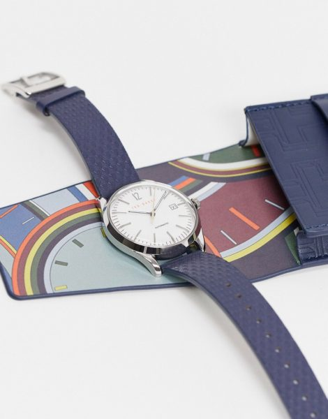 Ted Baker - Uhr aus Edelstahl mit Lederarmband-Schwarz