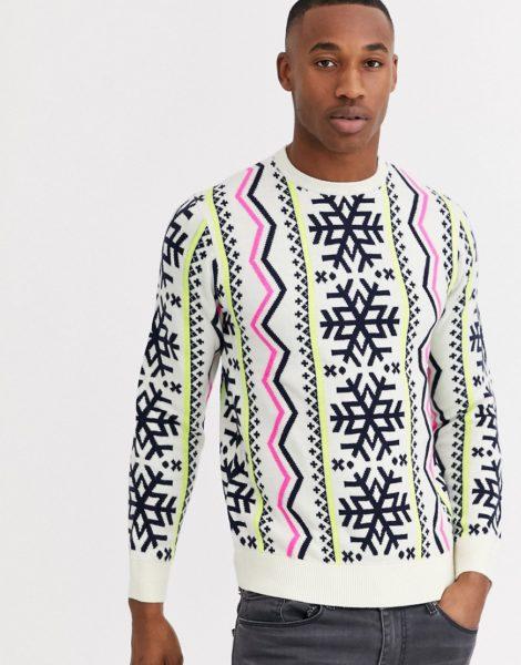 Threadbare - Neonfarbener Weihnachtspullover mit Norwegermuster-Weiß