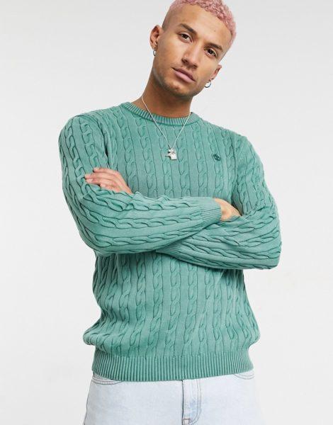 Timberland - Gewaschener Pullover mit Zopfmuster-Grün