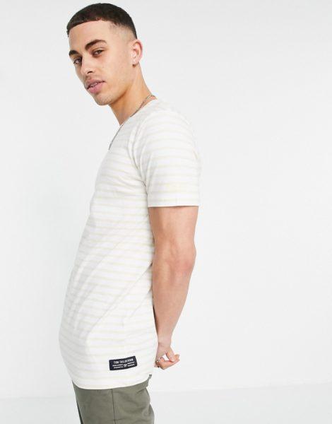Tom Tailor - Gestreiftes T-Shirt in Beige-Neutral