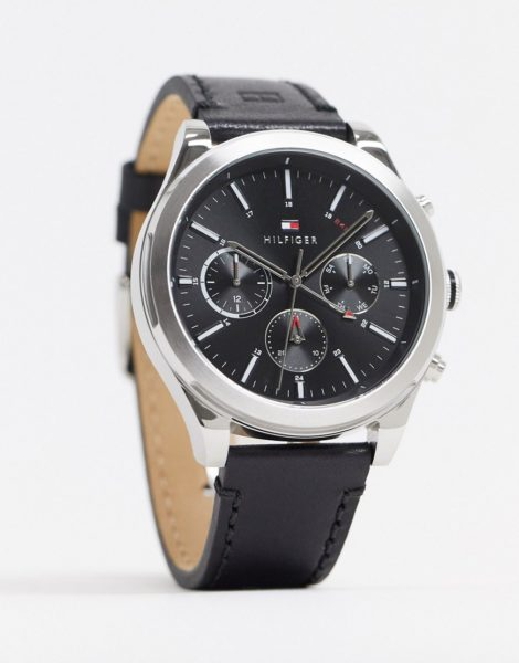 Tommy Hilfiger - Sunray 1791740 - Armbanduhr aus schwarzem Leder
