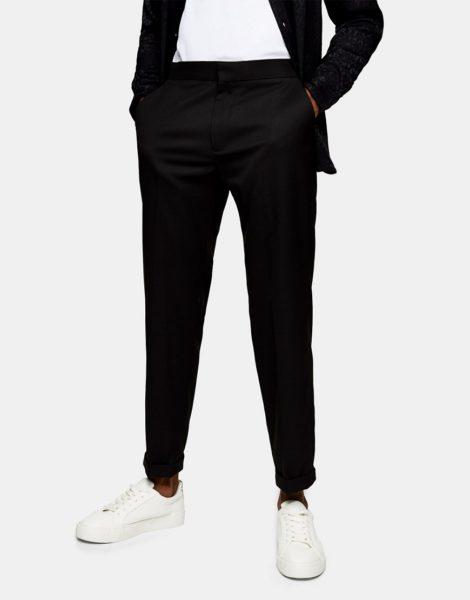Topman - Locker geschnittene Hose aus Twill in Schwarz