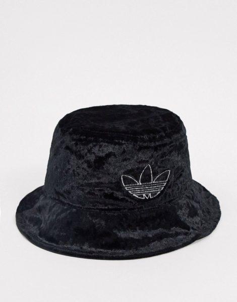adidas Originals - Anglerhut aus Samt mit Kleeblatt-Logo in Schwarz