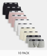 ASOS DESIGN - 10er-Pack kurze Unterhosen-Mehrfarbig