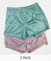 ASOS DESIGN - 2er-Pack gewebte, seidige Boxershorts, Sparen-Mehrfarbig