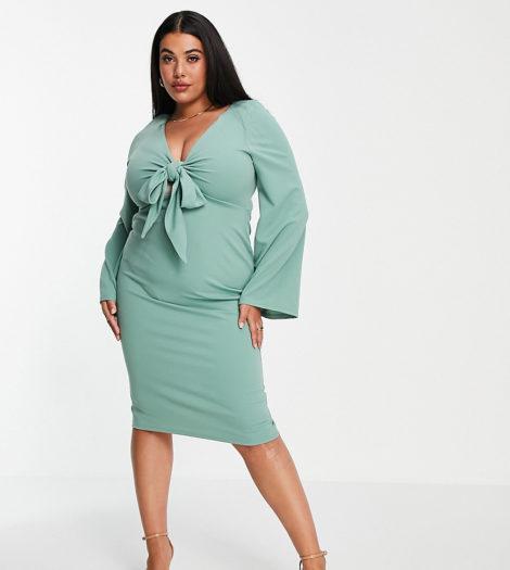 ASOS DESIGN Curve - Kleid in Salbeigrün mit Kimonoärmeln und tiefem Ausschnitt-Mehrfarbig