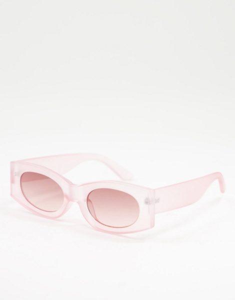 ASOS DESIGN - Eckige Sonnenbrille in Rosa mit Gläsern in Hellrosa
