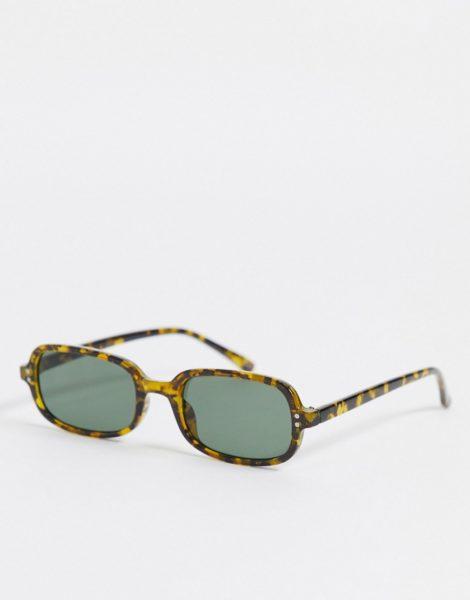 ASOS DESIGN - Eckige Sonnenbrille in Schildpattoptik in Khaki mit grün getönten Gläsern