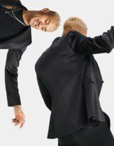 ASOS DESIGN - Eng geschnittene Smoking-Jacke in hochglänzendem Schwarz