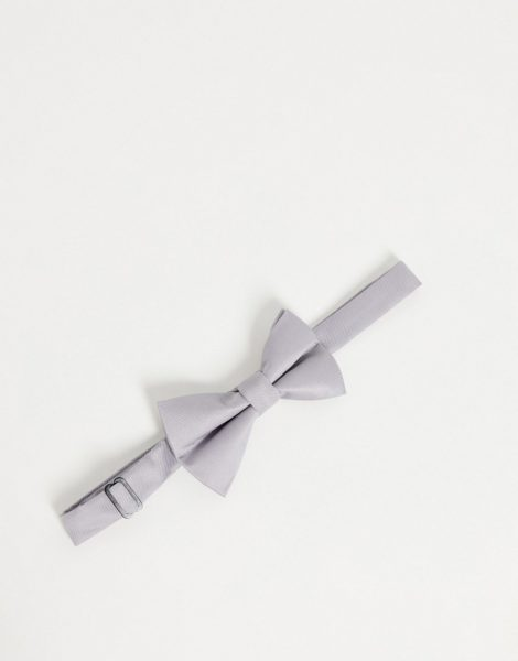 ASOS DESIGN - Fliege aus Satin in Grau