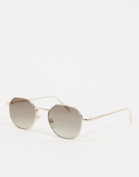 ASOS DESIGN - Goldene, eckig-runde Sonnenbrille mit rauchig getönten Gläsern mit Farbverlauf