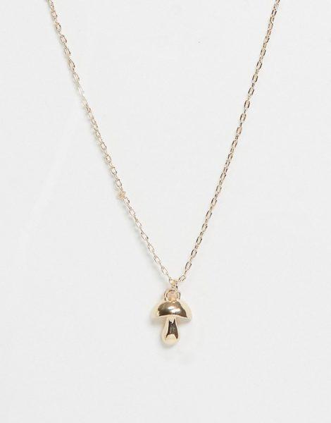 ASOS DESIGN - Goldfarbene Halskette mit Pilzanhänger
